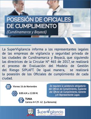 Posesión de Oficiales de Cumplimiento para servicios de Cundinamarca y Boyacá - Tunja -